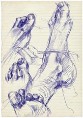 soles, hand drawings