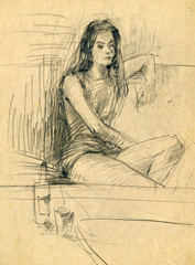 Girl with a bottle of alcohol, pencil technique