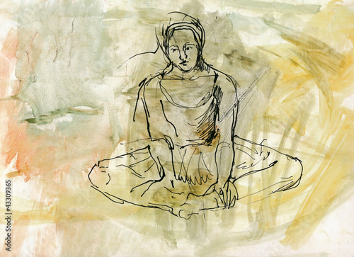 meditation (black ink and water colors)