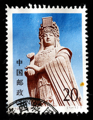 Stamp shows the statue of Goddess Matsu, circa 1993