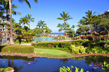 View from luxury hotel, Kaanapali, Maui, Hawaii