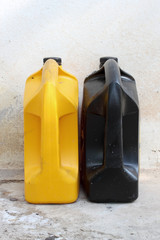 Yellow and black oil container