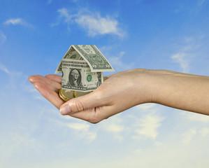 Money home in hand