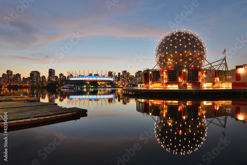 Vancouver Science World and BC Stadium at night