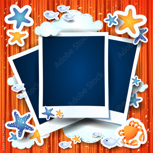 Photo frames on holidays background