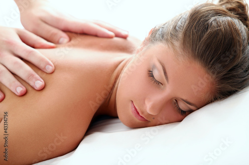 Woman enjoying a massage therapy