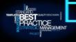 Best practice strategic management word tag cloud animation