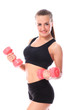 Happy girl doing exercises with dumbbells
