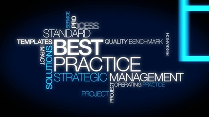 Best practice strategic management word tag cloud animation