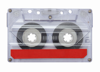 Old Cassette tape isolated on white with clipping path