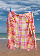 Clothes for drying on a clothesline
