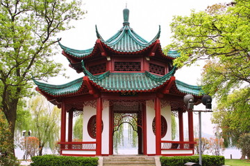 Chinese pavilion. East lake park. Wuhan city. China is.