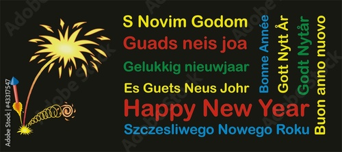 Happy new year mit Feuerwerk international mehrsprachig