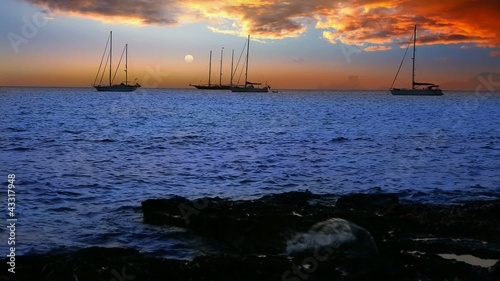 Ibiza sea sunset view from Formentera Balearic islands