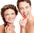 couple with strawberry