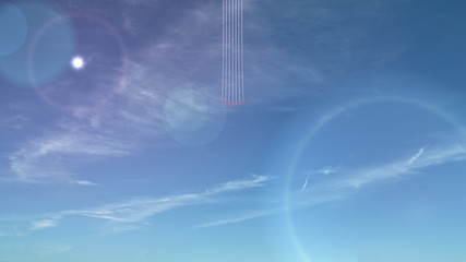 Seven small jets, leaving trails of smoke.