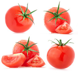 Collection of tomatoes, isolated on white