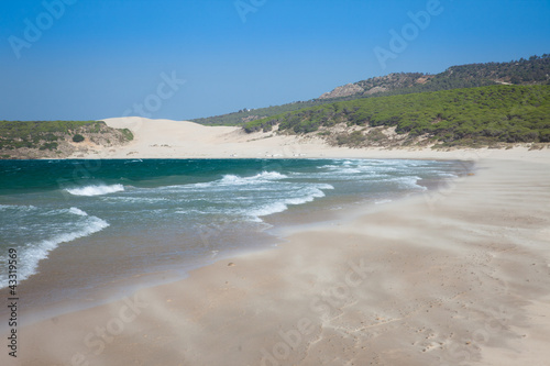 Beautiful windy beach in Bolonia, southern Spain.