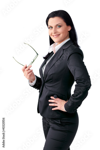 Young business woman, hand in the hip