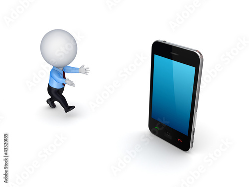 3d small person and modern mobile phone.