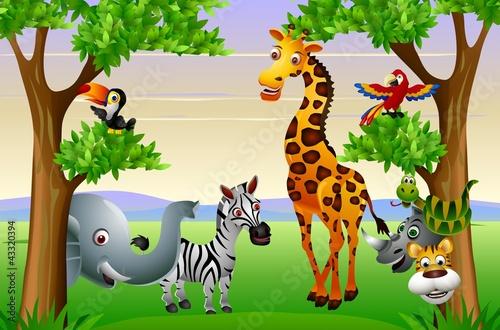 Fototapety, obrazy : Wild African animal cartoon