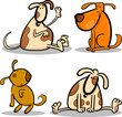 cute cartoon dogs or puppies set