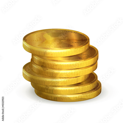 Stacks of gold coins, old-style isolated