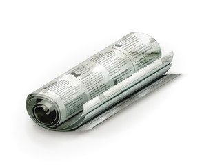 Rolled Newspaper, old-style isolated