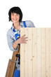 female woodworker posing