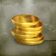 Stacks of gold coins, old-style