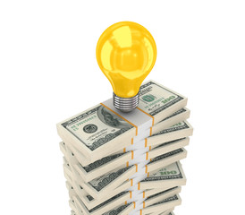 Stack of dollars and idea symbol.