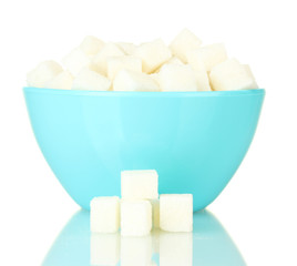 White lump sugar in bowl isolated on white