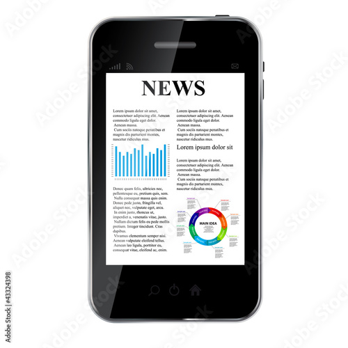 Abstract design mobile phone with news concept. vector illustrat