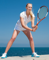 Professional tennis player outdoors
