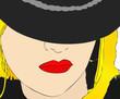 Ritratto di giovane donna con cappello e rossetto