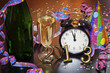 2013 happy new year party with clock and champagne