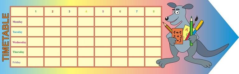timetable - kangaroo