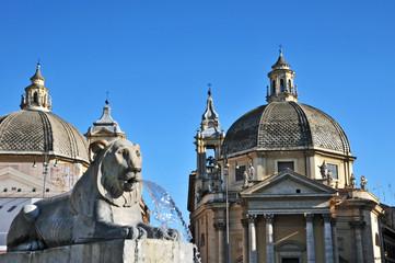 Roma, piazza del Popolo - fontana e Santa Maria Montesanto