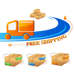 vector illustration of free shipping trolley with carton box