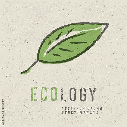 Ecology concept collection. Include green leaf image, seamless r