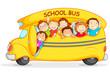 Editable vector illustration of happy children on school bus