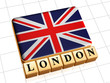 UK flag and text London