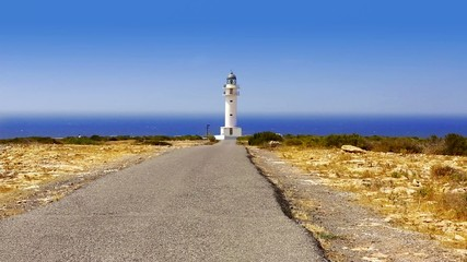Barbaria cape Formentera lighthouse with mediterranean sea
