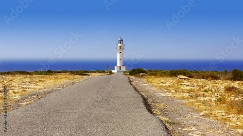 Barbaria cape Formentera lighthouse with mediterranean sea
