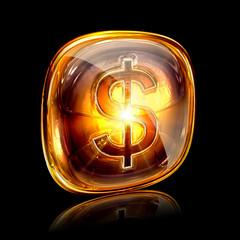 dollar icon amber, isolated on black background.