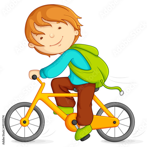 Editable vector illustration of boy doing cycling