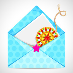 vector illustration of beautiful rakhi with letter in envelope
