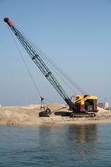dredger and bulldozer