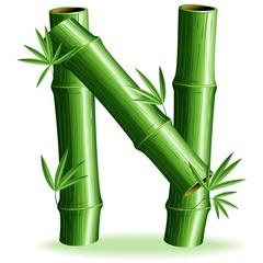 Bambù Lettera N - Bamboo Logo Sign Letter N - Vector
