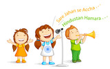 vector illustration of kids singing Indian patriotic song